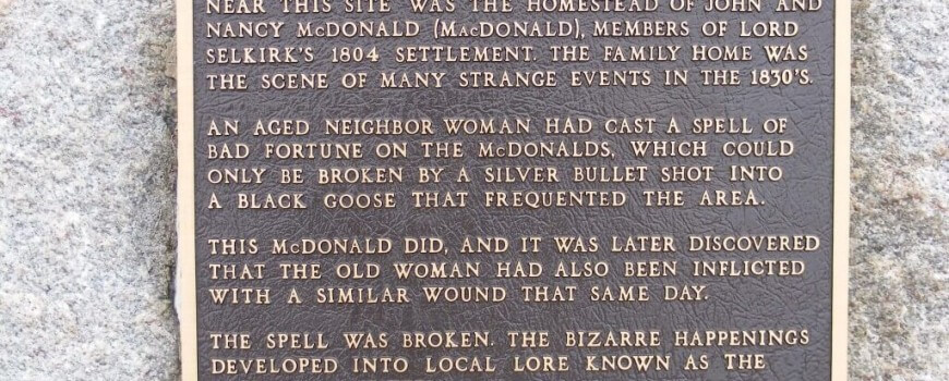 Plaque about the Baldoon Mystery