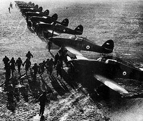 Battle of Britain fighter planes lined up