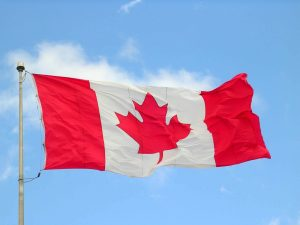 Canada Flag blowing in breeze