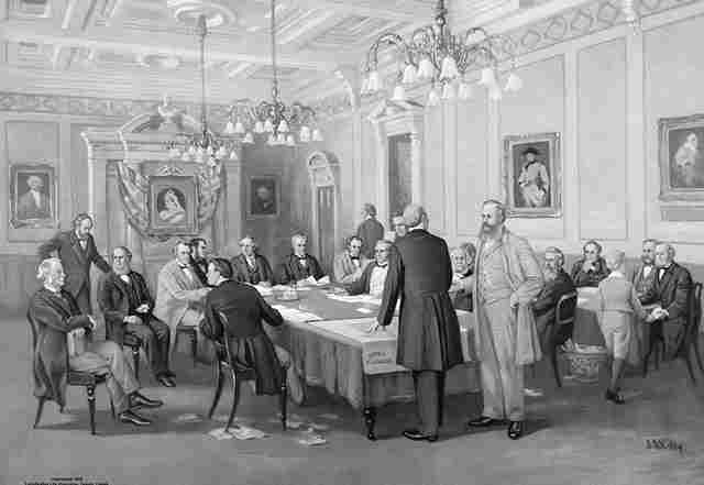 British North America Act - Fathers of Confederation painting.