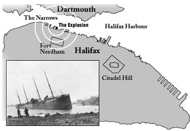 Map depicting the location of Halifax Explosion of 1917