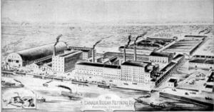 Black and White image of John Redpaths Sugar Refinery