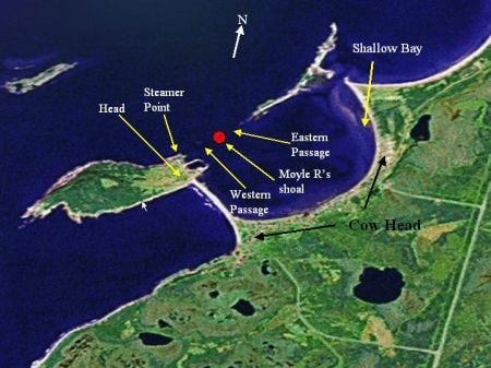 Map showing the location of the Moyle R shipwreck
