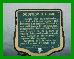 Ogopogo Plaque on Lake Okanogan
