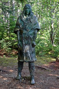 Beothuk Indian Statue Shanawdithit in forest