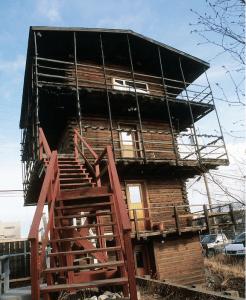 3 story log cabin nicknamed the Log Skyscraper