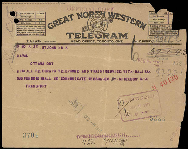 Telegram from the Halifax explosion of 1917
