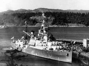 Black and White Photo of HMCS Uganda