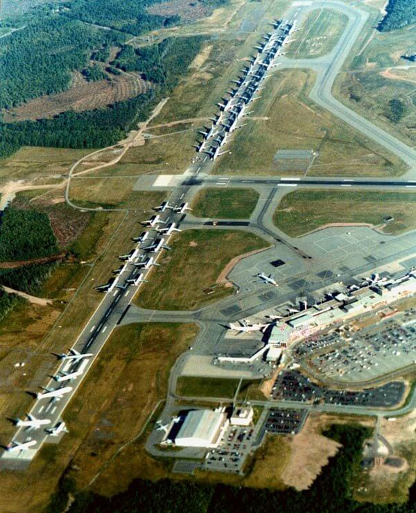 Arial view of planes grounded on runway