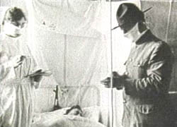 Doctor treating patient of The Spanish Flu of 1918