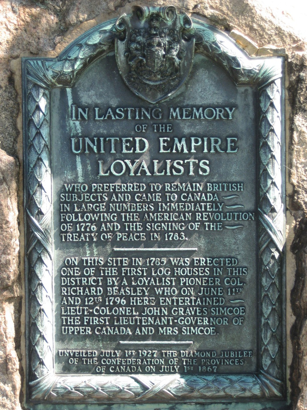 United Empire Loyalists Plaque
