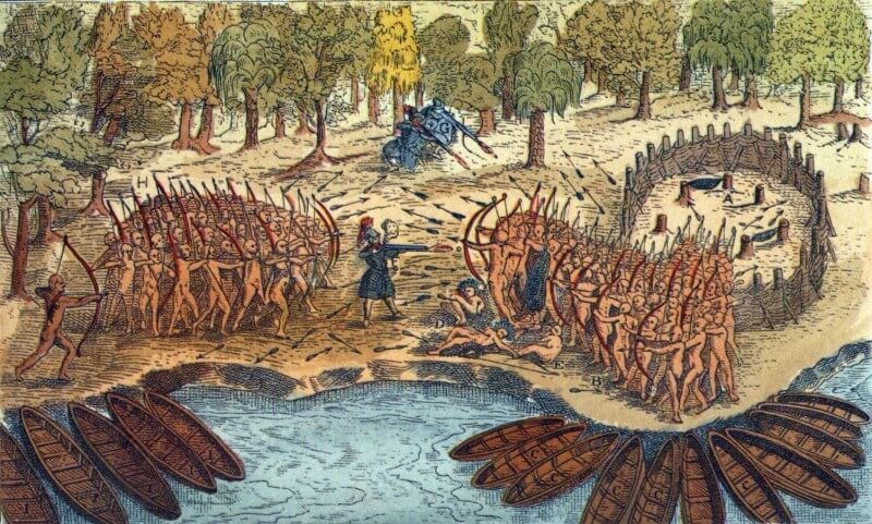 Painting depicting the French Iroquois War in the Capital of Canada