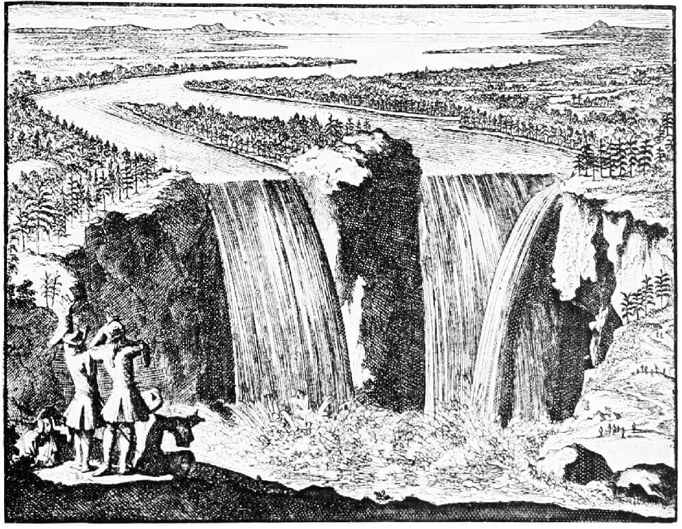 Early drawing of Louis Hennepin the first European to write about seeing the Niagara Falls.