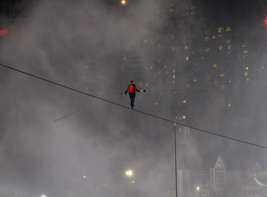 Nik Wallenda walking tight rope over Niagara Falls.
