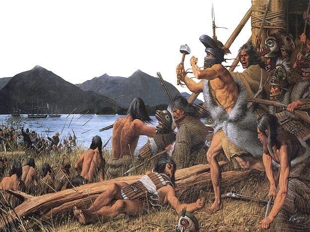A painting depicting the Battle of Sitka, a skirmish between Russian and Tlingit forces.