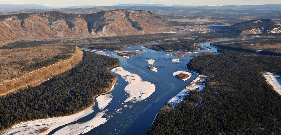 Aerial view of Fort Selkirk on the Yukon River.