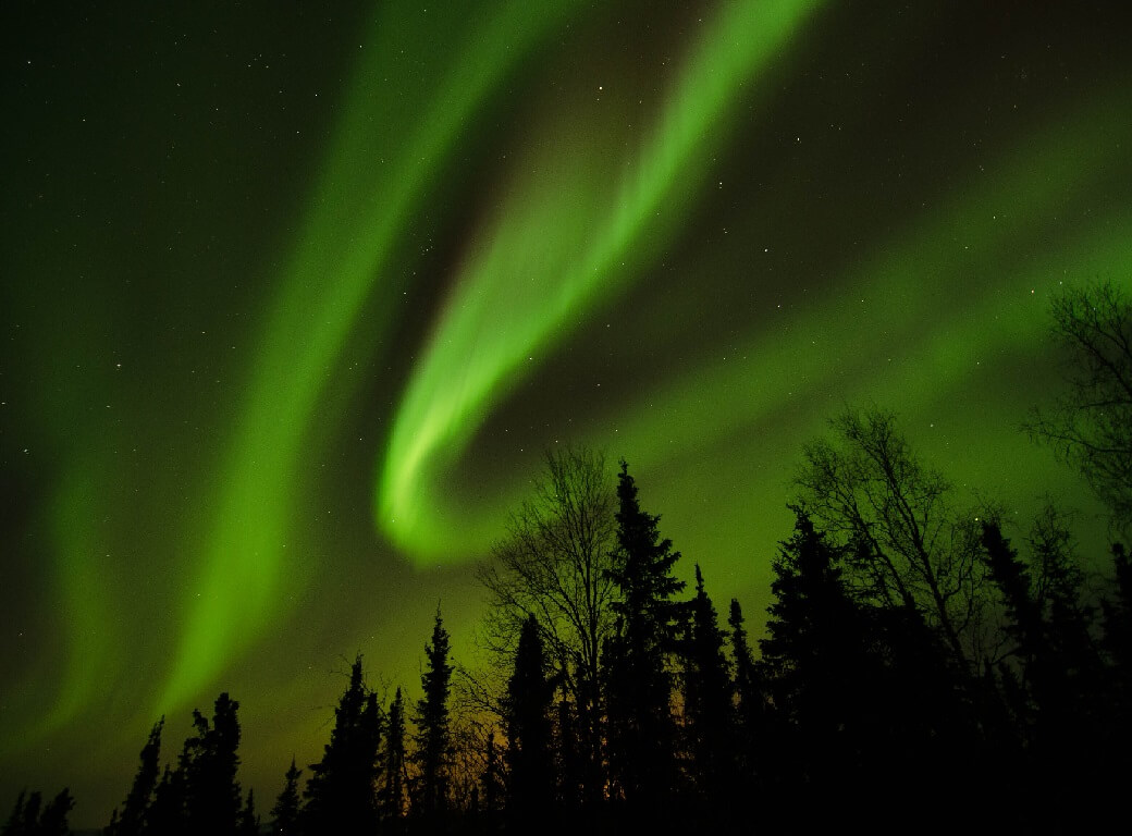 Spectacular photo of The Northern Lights in the Yukon Gold Rush.