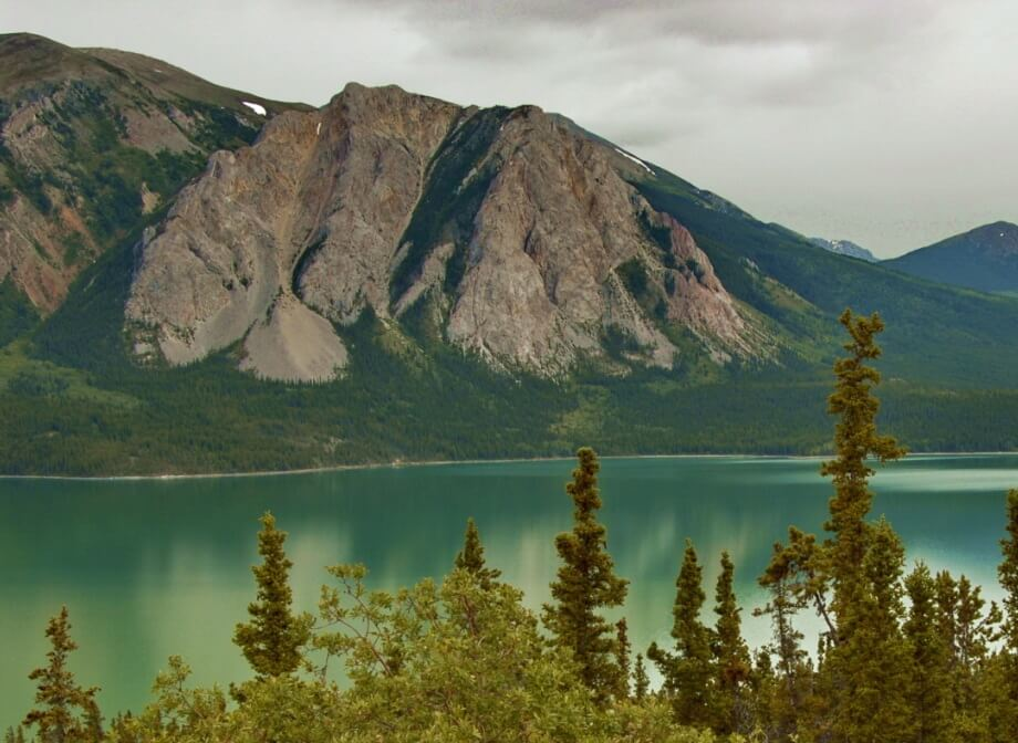 Image of mountains and lake in The Yukon.