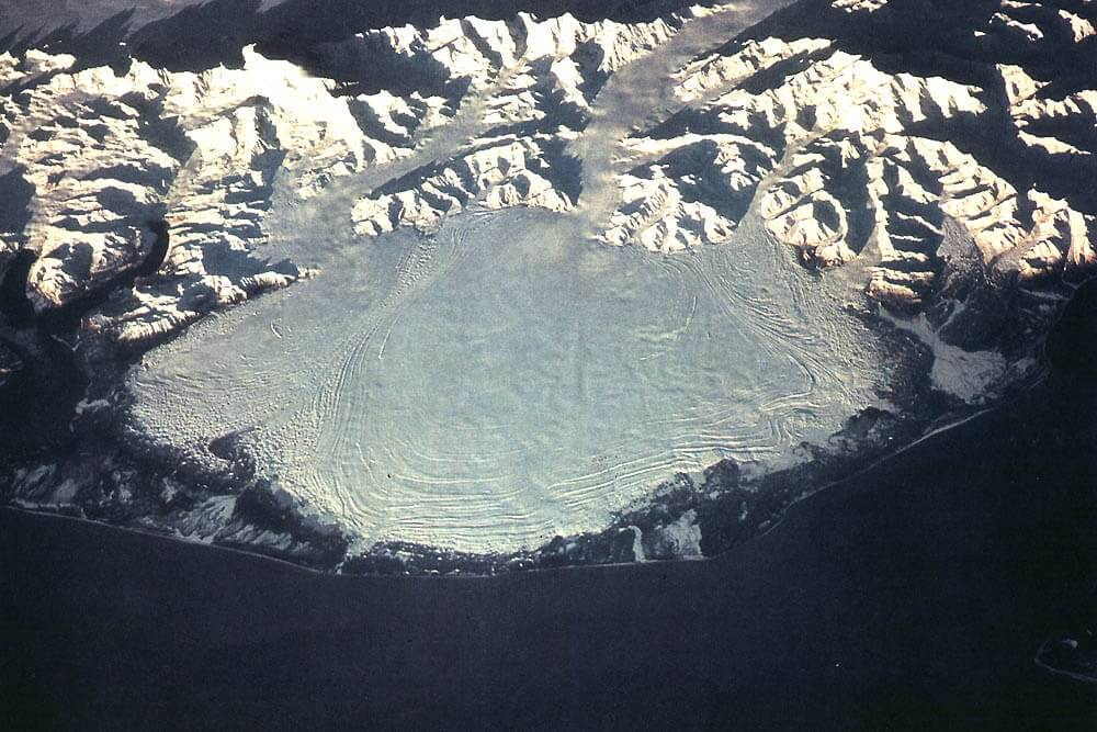 An aerial view of the Malaspina Glacier.