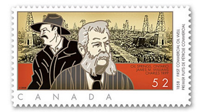 A Canada Post stamp depicting Charles Tripp and James Williams, Canada's first petroleum pioneers.