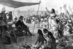 Blackfoot Chief Crowfoot orating at the signing of Treaty 7.