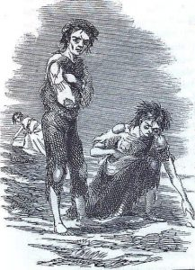 A scene depicting the Irish Potato Famine.