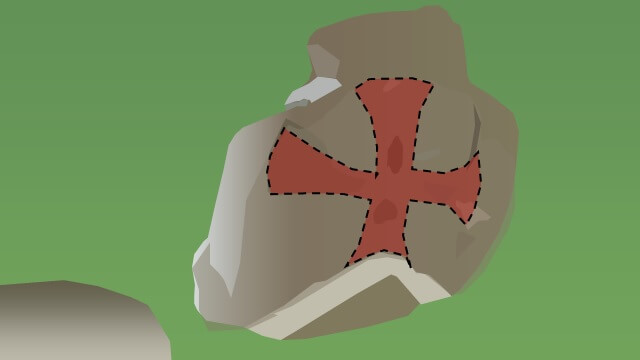 "An interpretation of the New Ross ""herm"" stone with a hypothetical cross pattee projected onto it."