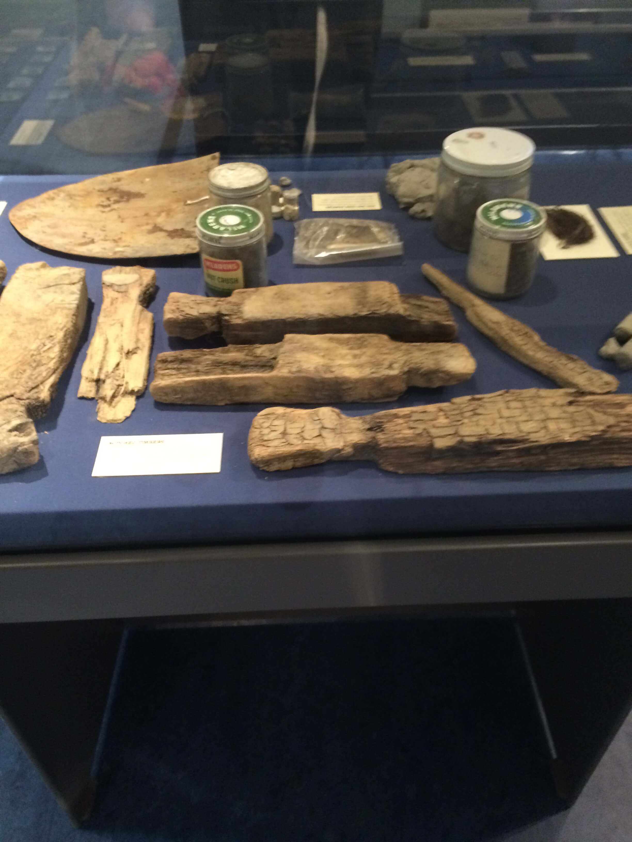 Fragments of timber previous Oak Island treasure hunters have unearthed on the island on display at the Museum of Natural History in Halifax. Image courtesy of Ryan Phillips.